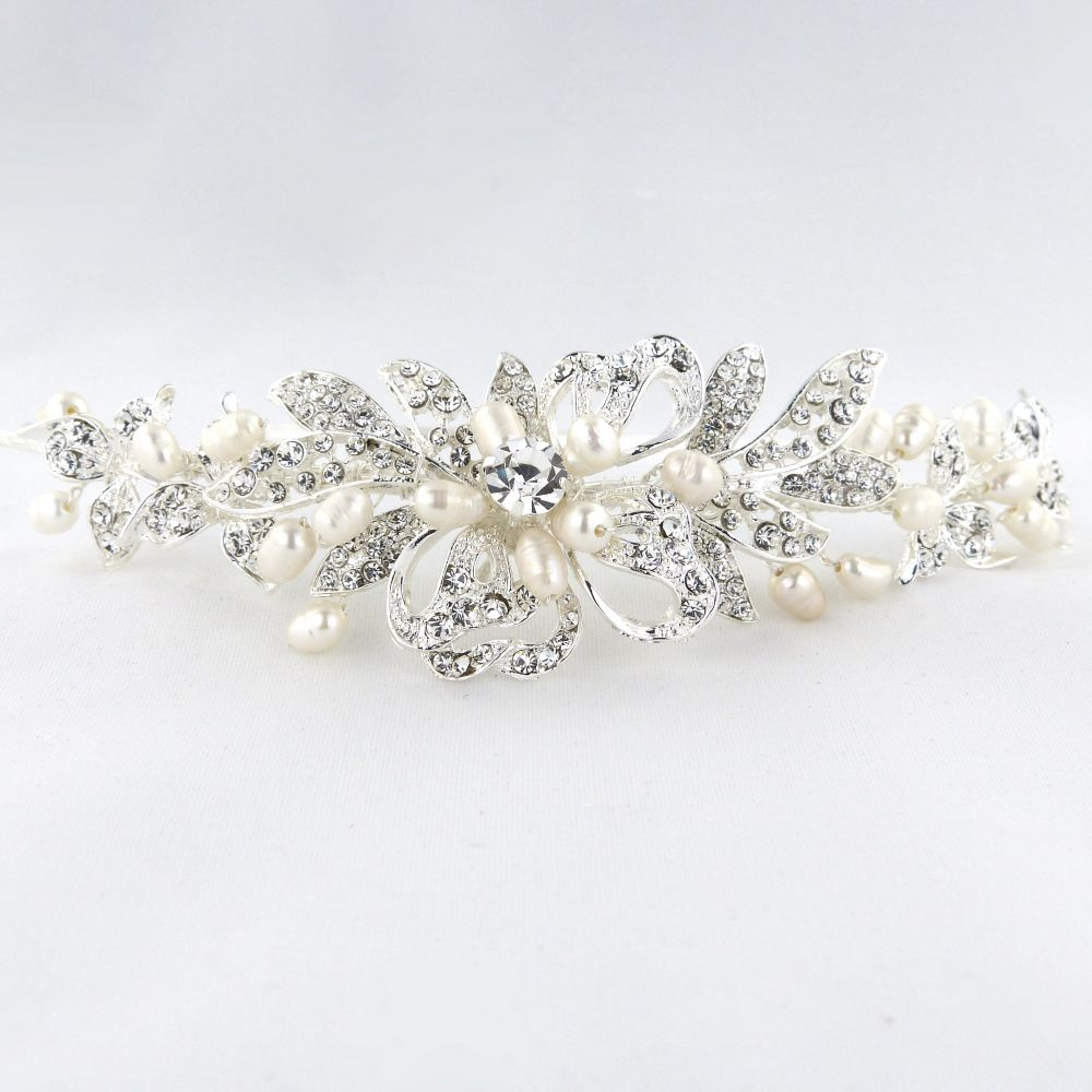 Diamante & Pearl Side Tiara, Tiaras