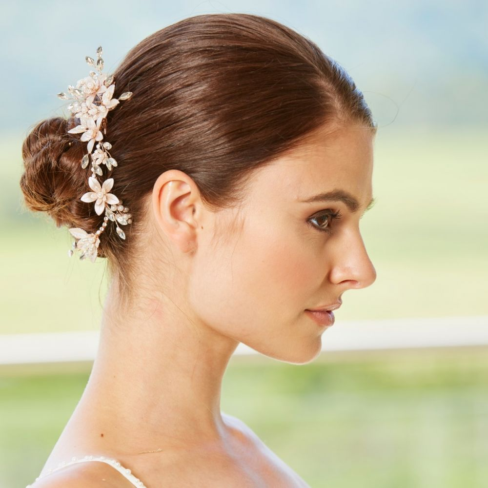 Rose Gold Flower Effect Clip, Bridal Hair Accessories