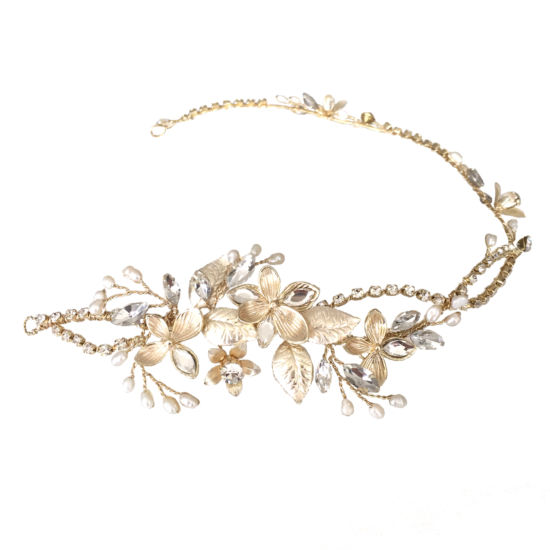 Soft Gold Leaf & Diamante Hair Vine, Bridal Hair Accessories