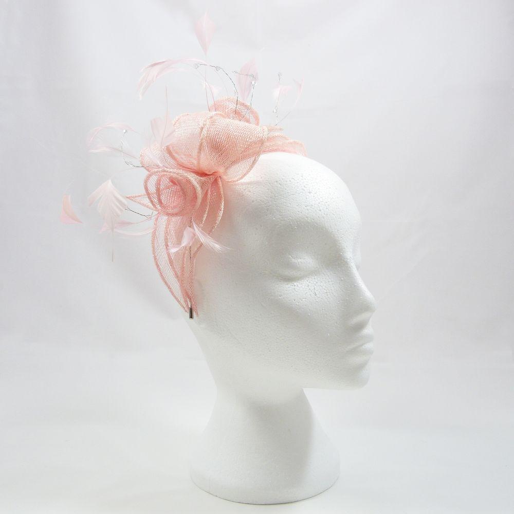 Sinamay & Crystal Fascinator - Bubblegum Pink, Fascinators