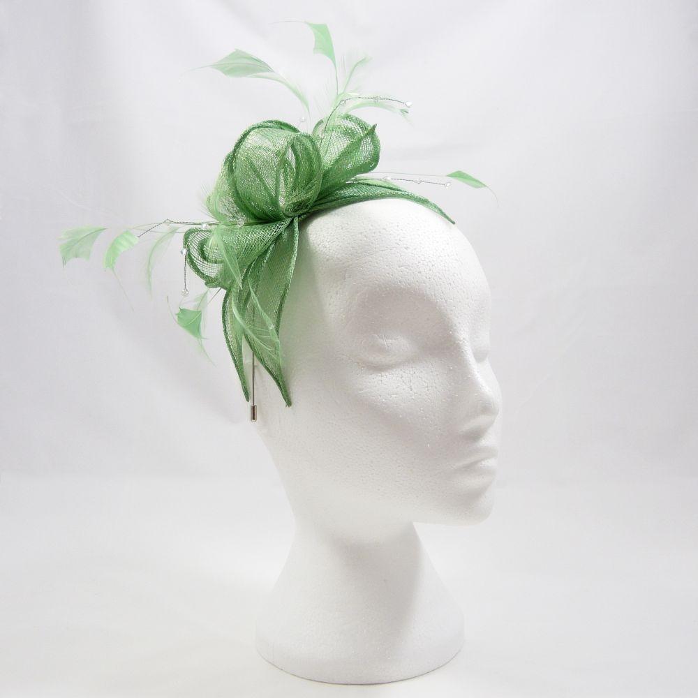 Sinamay & Crystal Fascinator - Spring Green, Fascinators