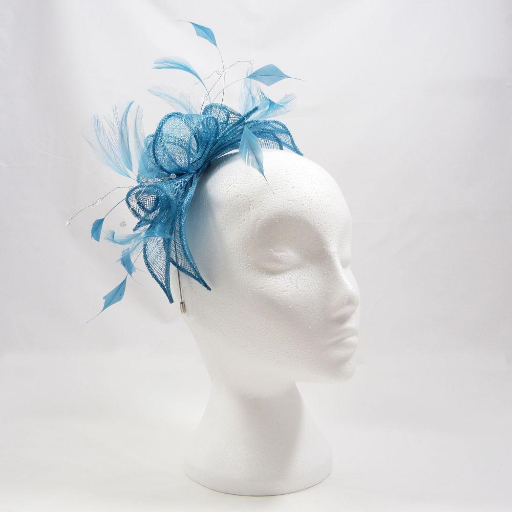 Sinamay & Crystal Fascinator - Turquoise, Fascinators