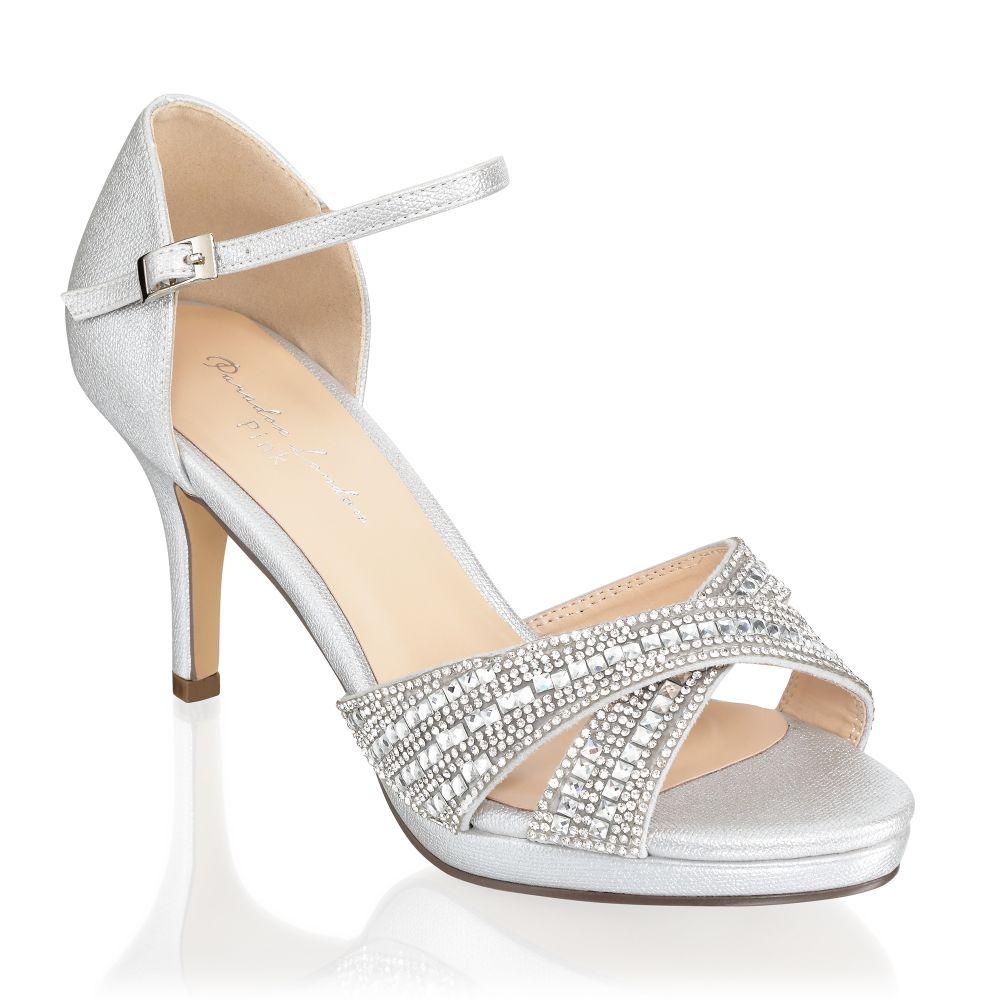 Haven Silver Diamante Occasion Sandals, Shoes