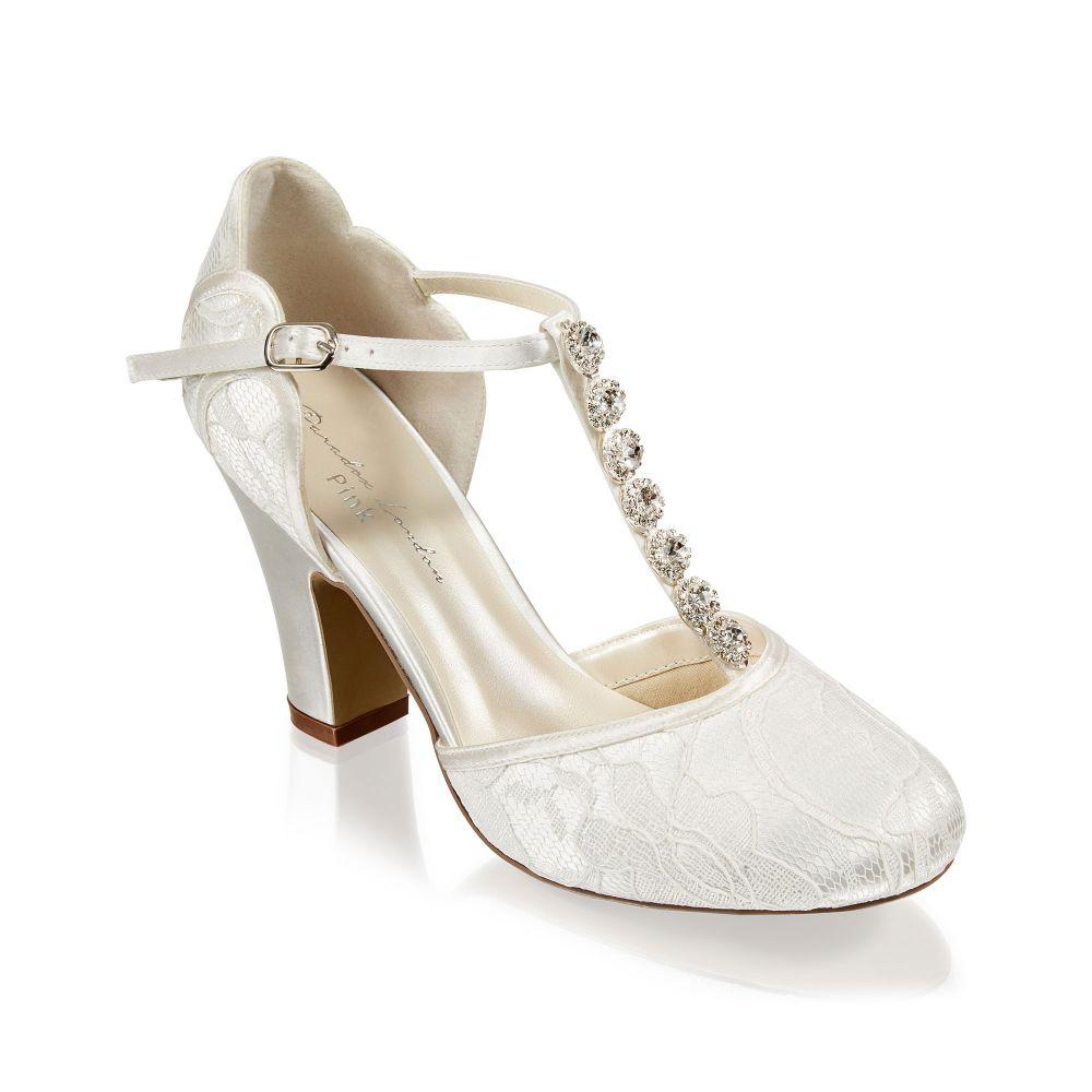 Adelia Ivory Lace Trim Bridal Shoes, Shoes