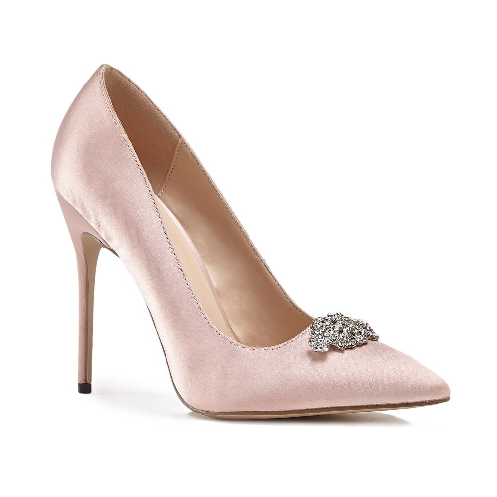 Alandra High Stiletto Jewelled Court Shoes - Blush, Shoes