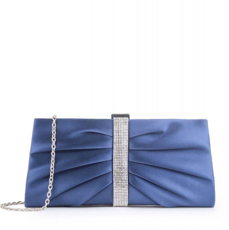Satin & Diamante Denver Occasion Clutch Bag - Navy, Accessories