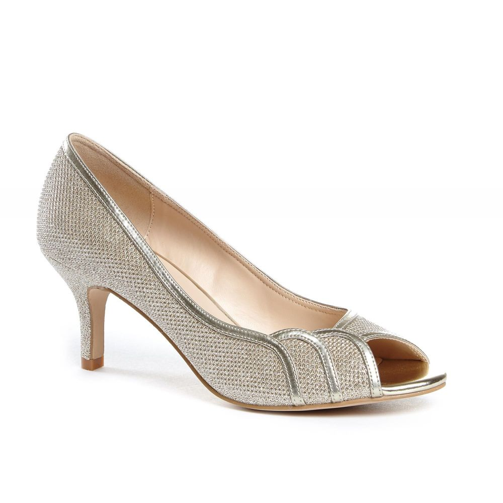 Gracia Wide Fit Peep Toe Shoes - Champagne, Shoes