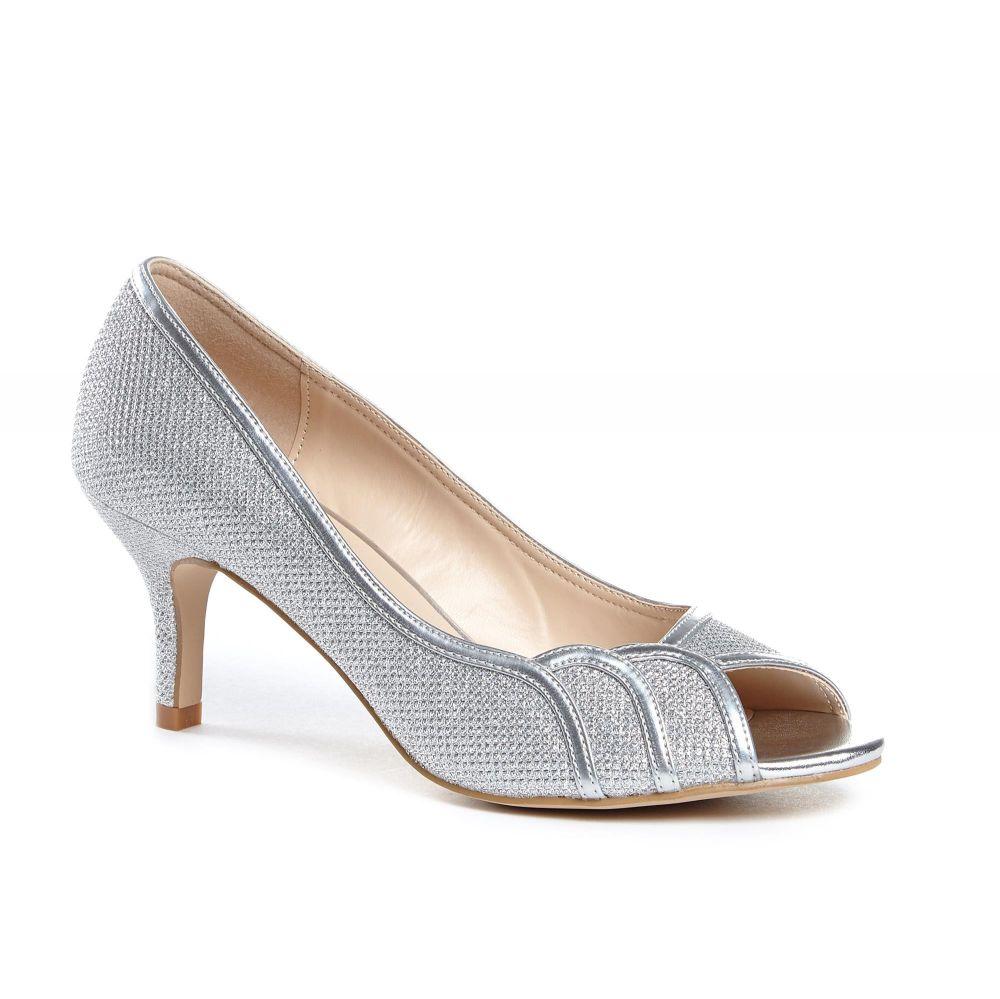 Gracia Wide Fit Peep Toe Shoes - Silver, Shoes