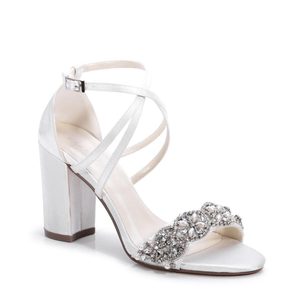 Hira Diamante Block Heel Ivory Wedding Shoes, Shoes