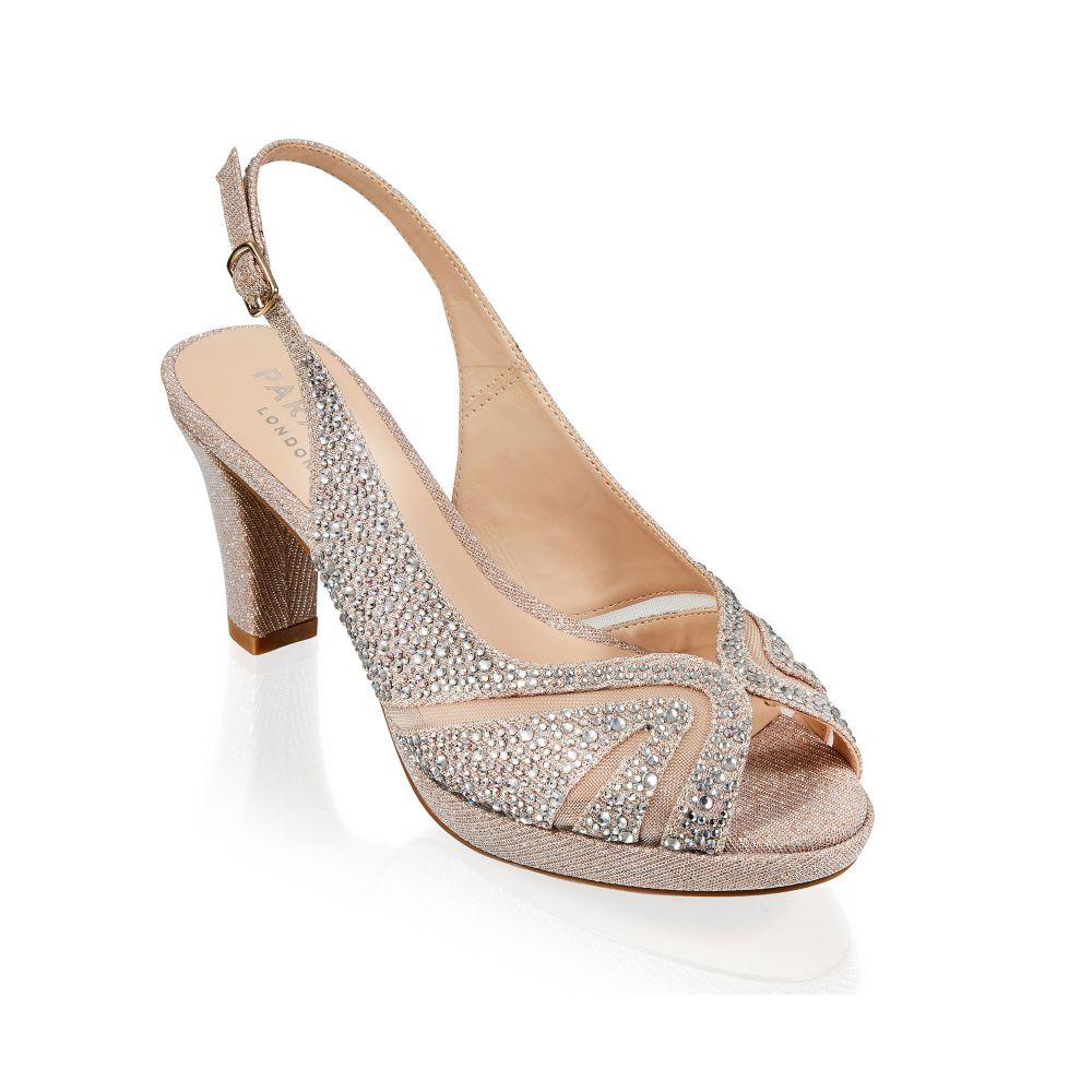 Linda Champagne Glitter Sling Back Sandal, Shoes