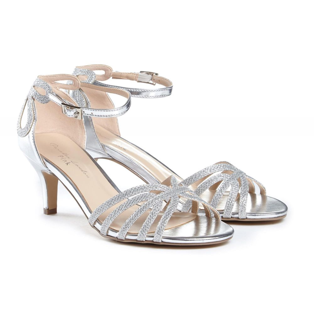 Melby Low Heel Silver Strappy Occasion Sandals, Shoes