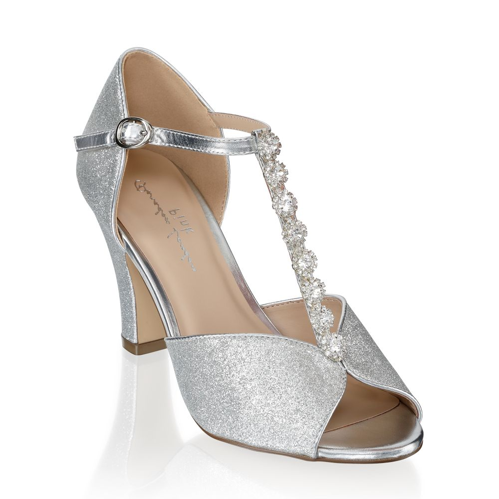 Rosie Silver Peep Toe Occasion Shoes, Shoes