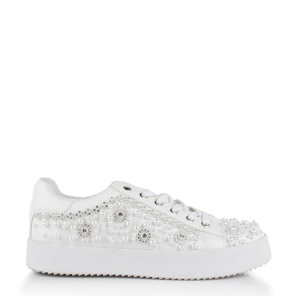 Zarina Diamante and Pearl White Trainers, Shoes