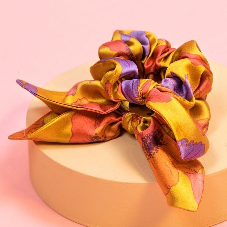 Powder Satin Scrunchies - Poppy Bright x 2, Accessories