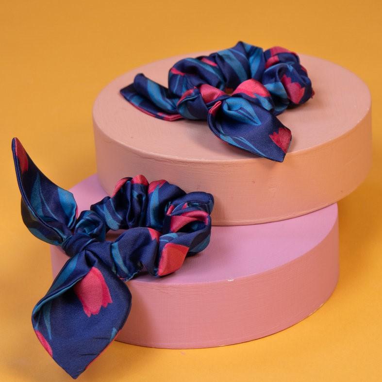 Powder Satin Scrunchies - Navy Tulip x 2, Accessories
