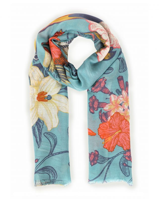 Powder Tropical Birds Print Scarf - Turquoise, Accessories
