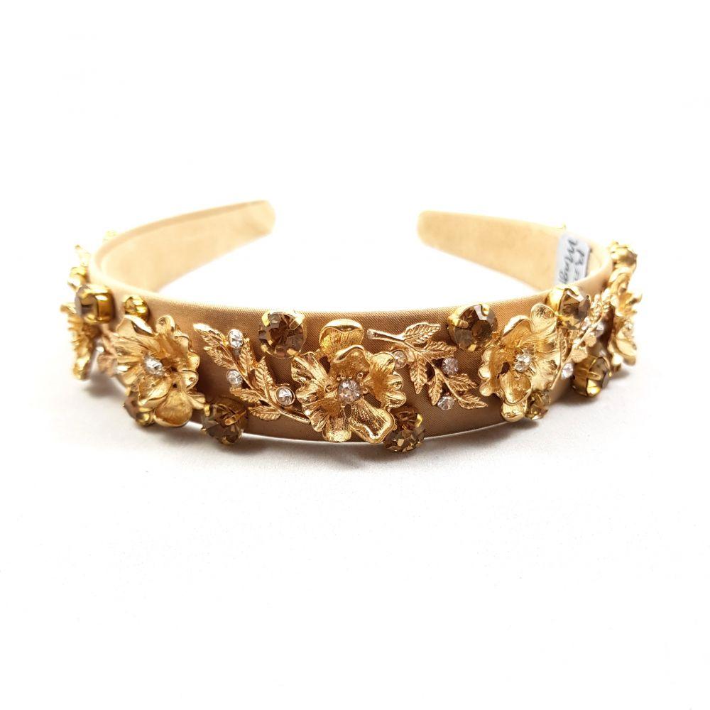 Designer Nude & Gold Headband - Rebecca, Designer Headbands