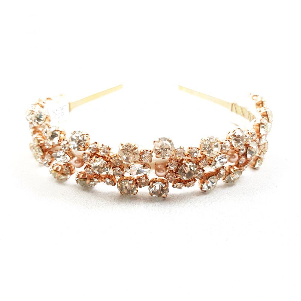 Designer Rose Gold Diamante Headband - Sunset, Designer Headbands