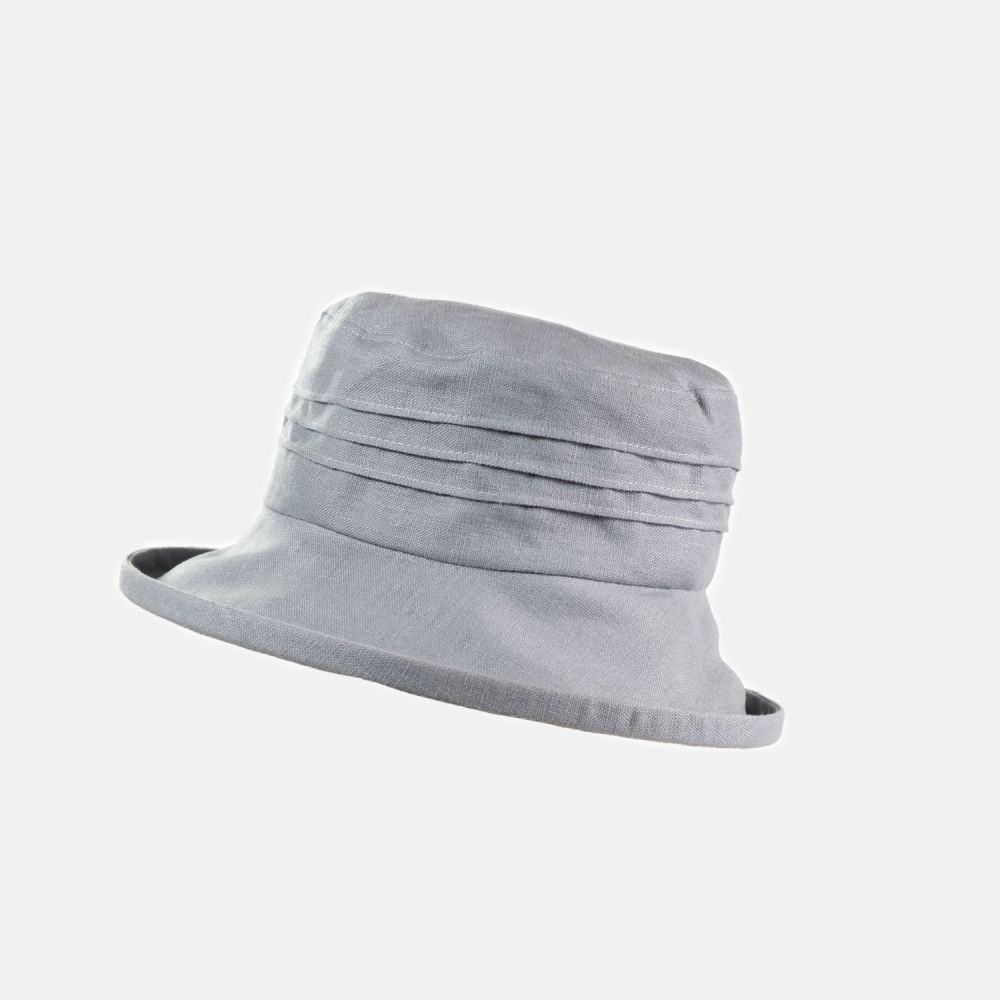 Packable Linen Sun Hat - Light Grey, Ladies Hats