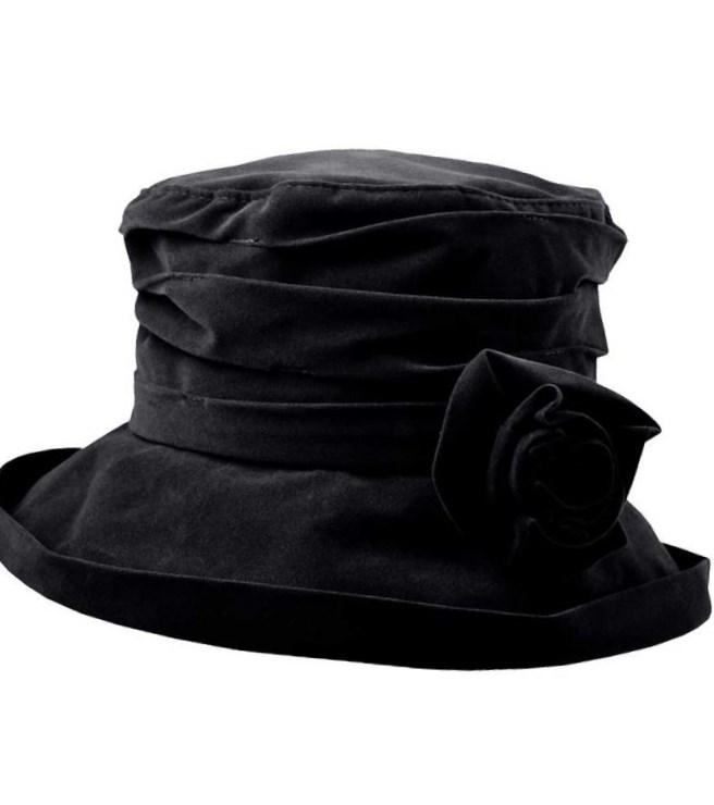 Proppa Toppa Waterproof Velour Packable Hat - Black, Ladies Hats