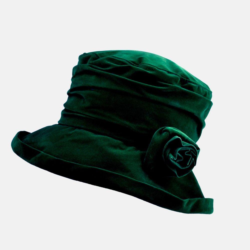Proppa Toppa Waterproof Velour Packable Hat - Forest Green, Ladies Hats
