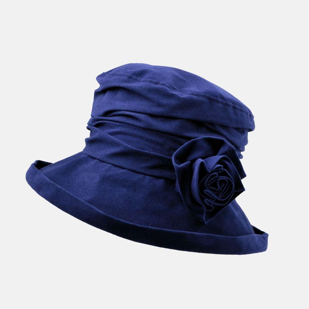 Proppa Toppa Waterproof Velour Packable Hat - Navy, Ladies Hats