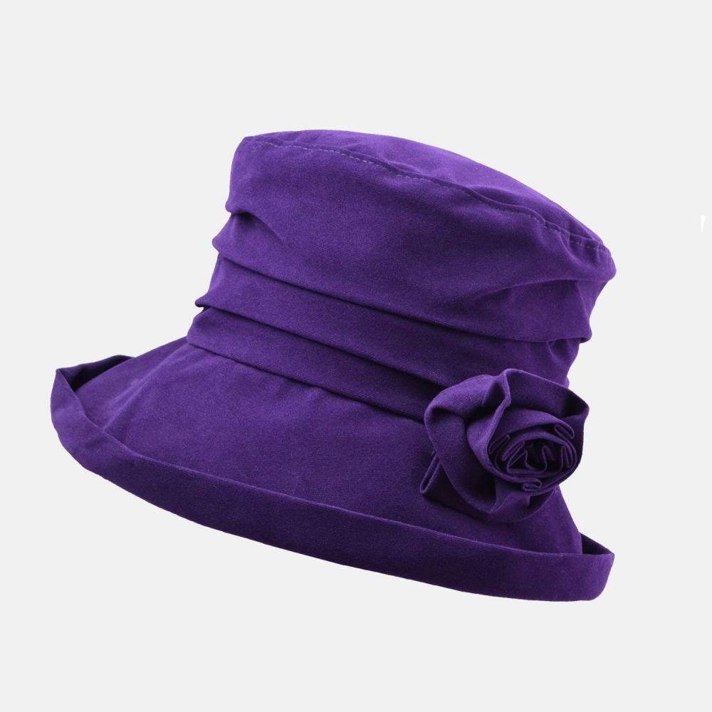 Proppa Toppa Waterproof Velour Packable Hat - Purple, Ladies Hats