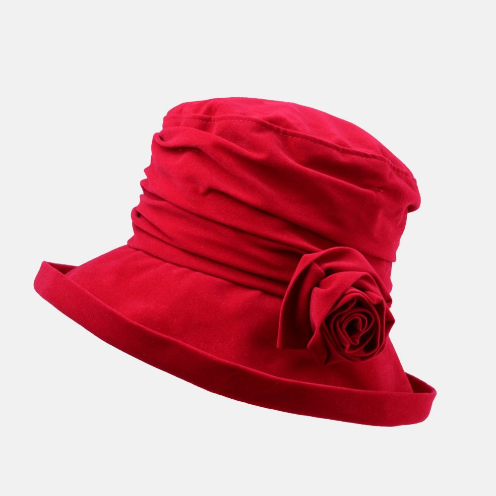 Proppa Toppa Waterproof Velour Packable Hat - Red, Ladies Hats