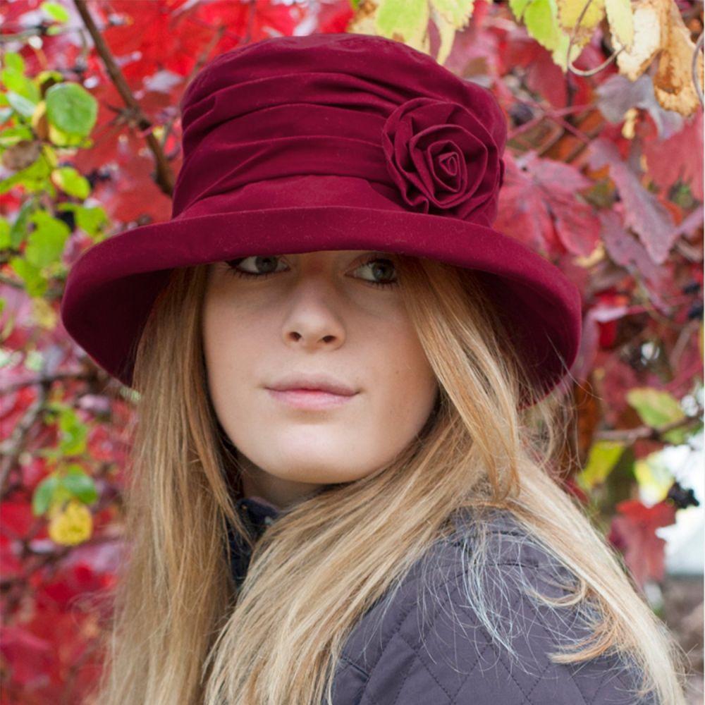Proppa Toppa Waterproof Velour Packable Hat - Wine, Ladies Hats