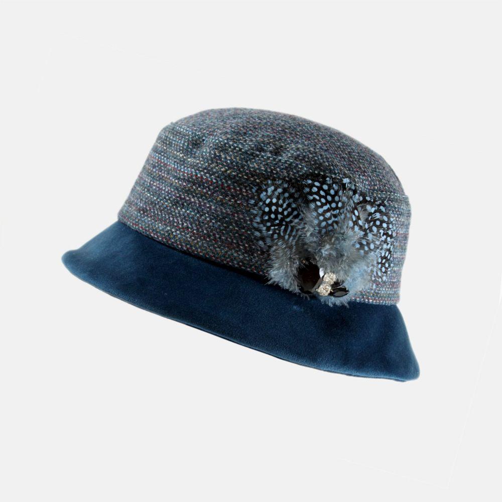 Yorkshire Tweed and Velvet Soft Brim Cloche - Petrol Blue, Ladies Hats