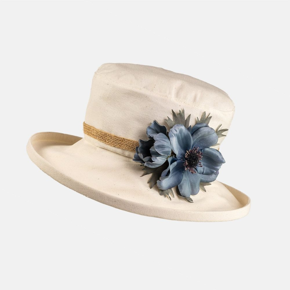 Cotton Summer Hat with Large Flower - Blue Anemone, Ladies Hats