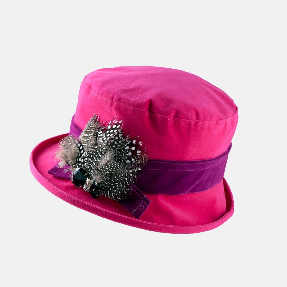 Proppa Toppa Waterproof Velour Small Brim Hat - Pink, Ladies Hats