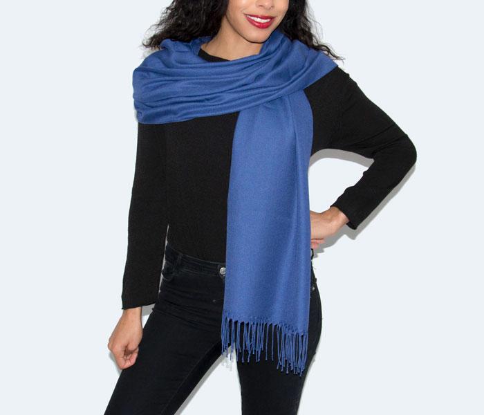 Super Soft Classic Italian Royal Blue Pashmina, Accessories