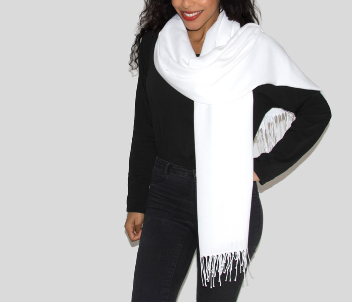 Super Soft Classic Italian White Pashmina, Accessories