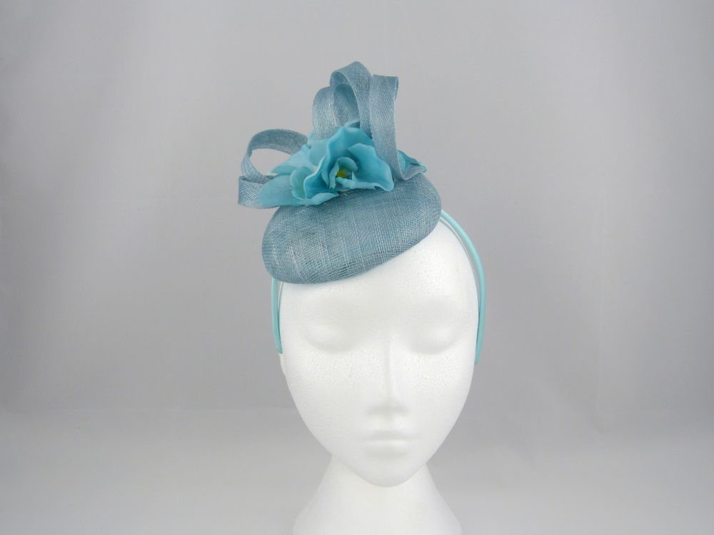 Sinamay Pillbox with Flower - Blue, Ladies Hats