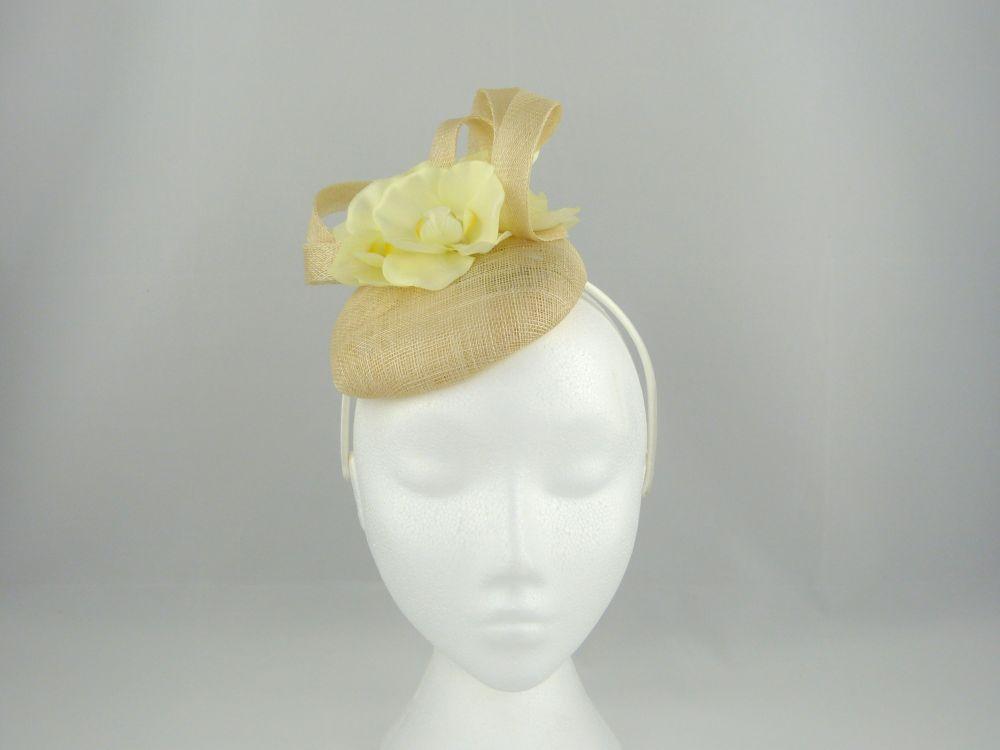 Sinamay Pillbox with Flower - Cream, Ladies Hats