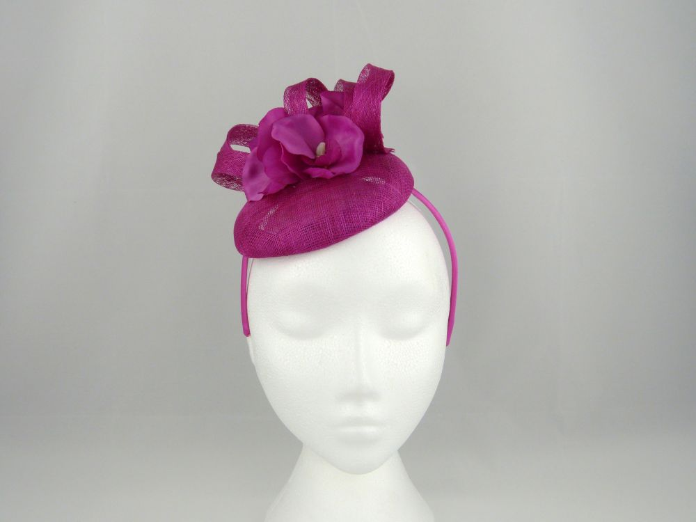 Sinamay Pillbox with Flower - Magenta, Ladies Hats