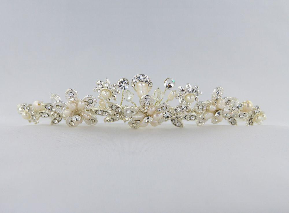 Pearl & Diamante Flower Tiara, Tiaras