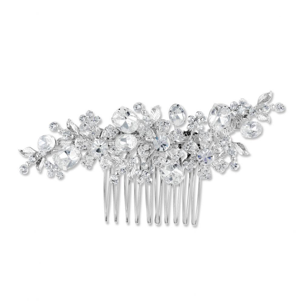 Daisy Swarovski Crystal Silver Plated Bridal Comb, Bridal Hair Accessories