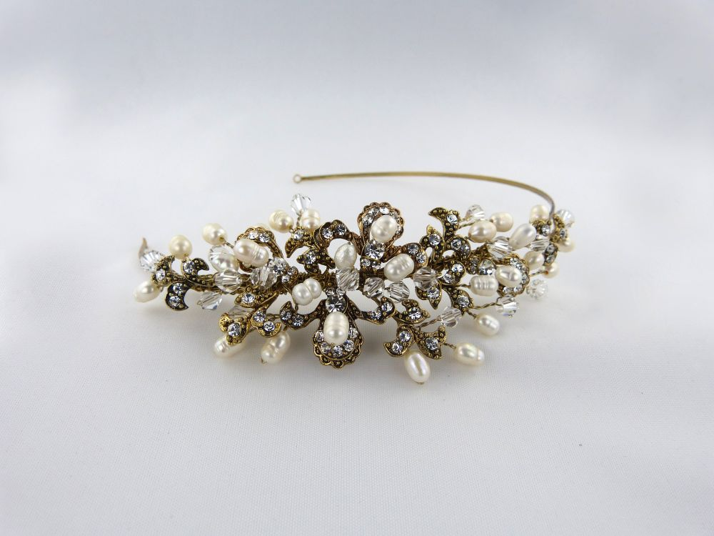 Kensington Antique Gold Side Tiara, Tiaras