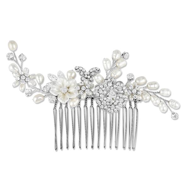 Freshwater Pearl & Crystal Bridal Comb, Bridal Hair Accessories