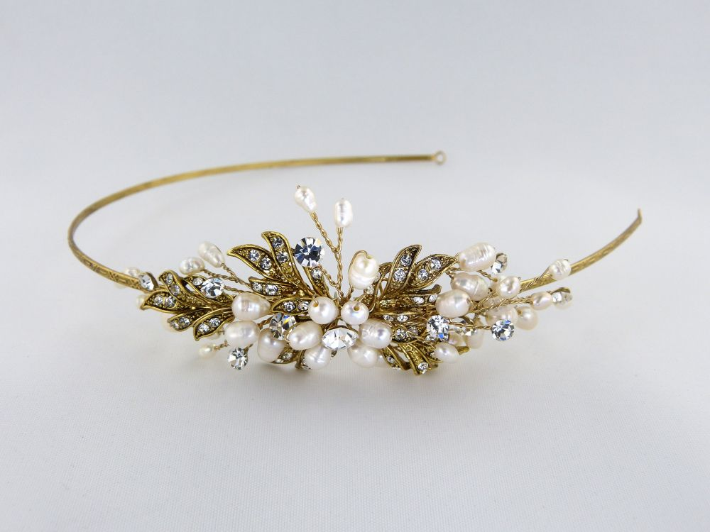 Paris Gold Pearl & Diamante Side Tiara, Tiaras