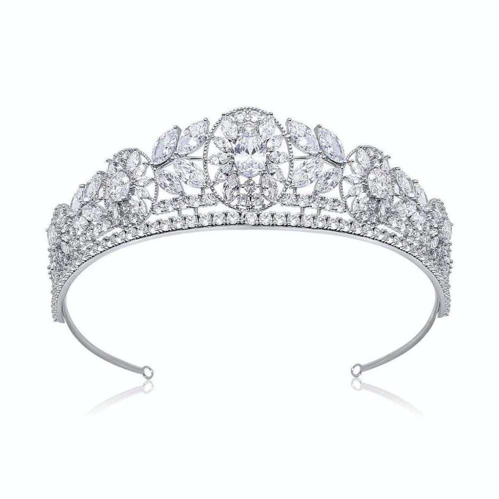 Alexandra Luxury Platinum Plated Wedding Tiara, Tiaras