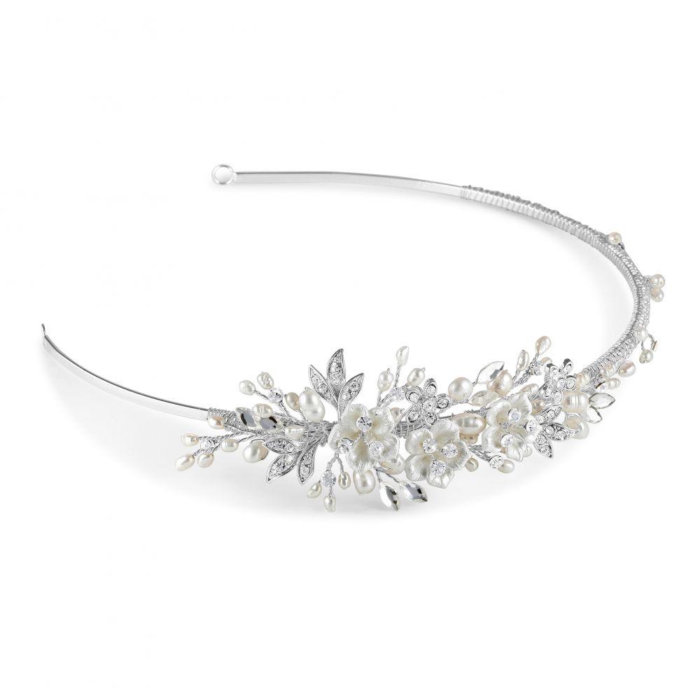 Petal Freshwater Pearl & Crystal Wedding Side Tiara, Tiaras