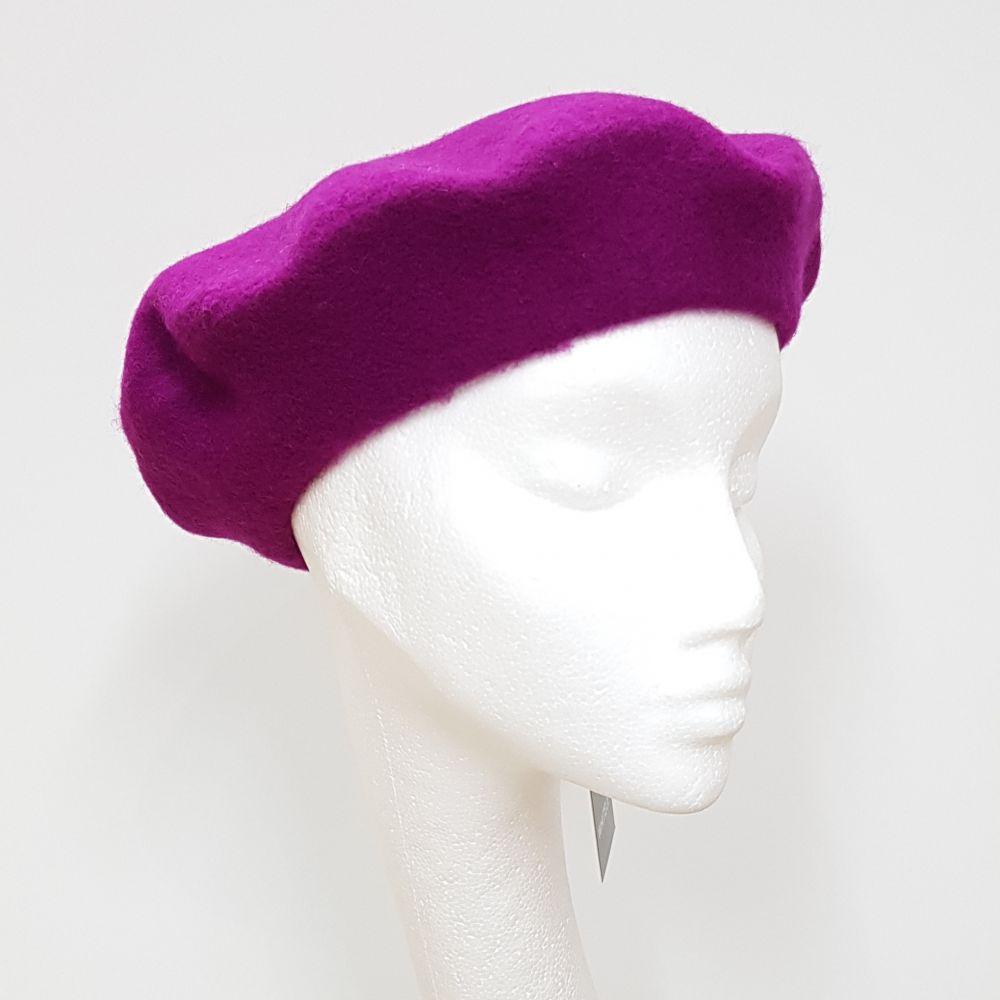 Wool Beret - Magenta, Ladies Hats