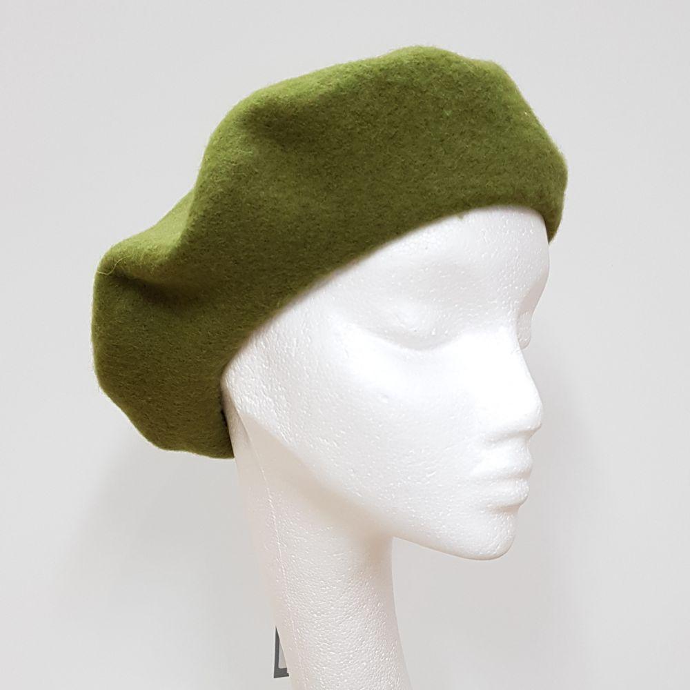 Wool Beret - Lichen Green, Ladies Hats