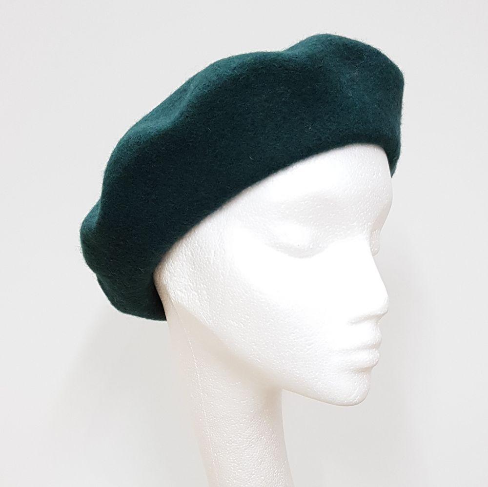 Wool Beret - Bottle Green, Ladies Hats