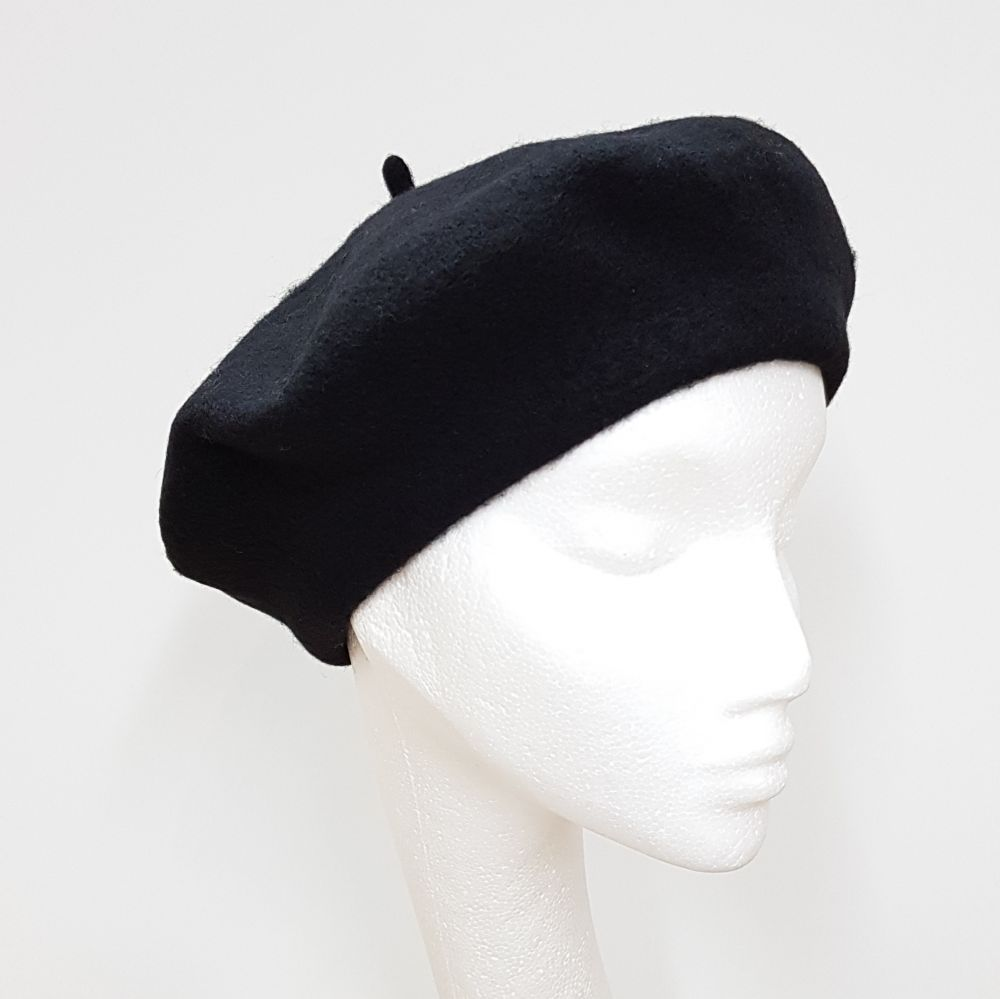Wool Beret - Black, Ladies Hats