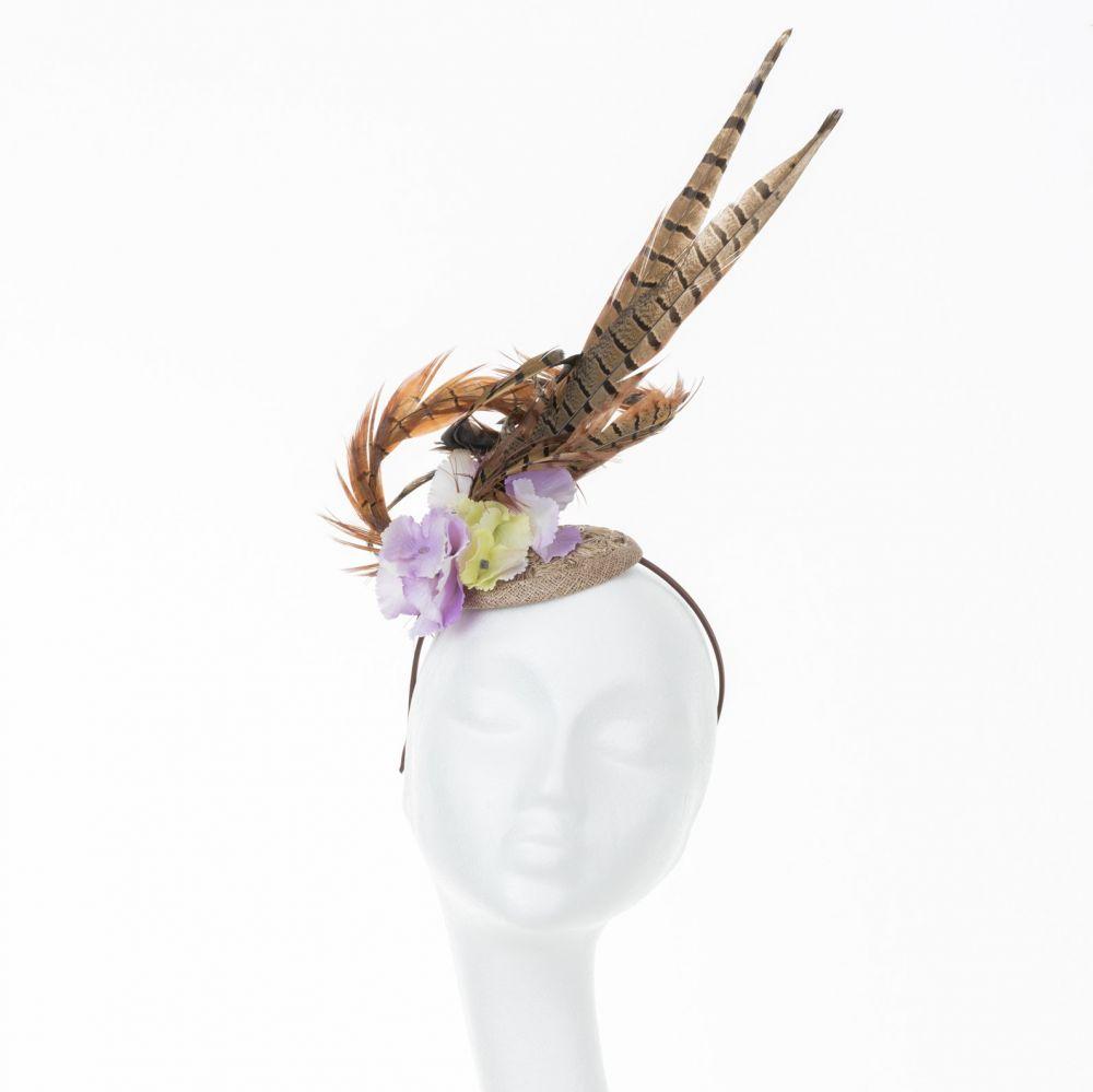 Tall Feather Fascinator - Lilac & Lemon, Fascinators