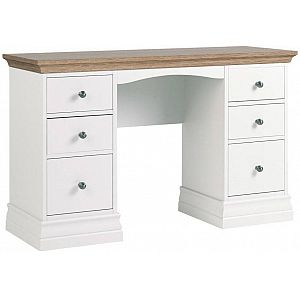 Annecy Double Pedestal Dressing Table Oak Top